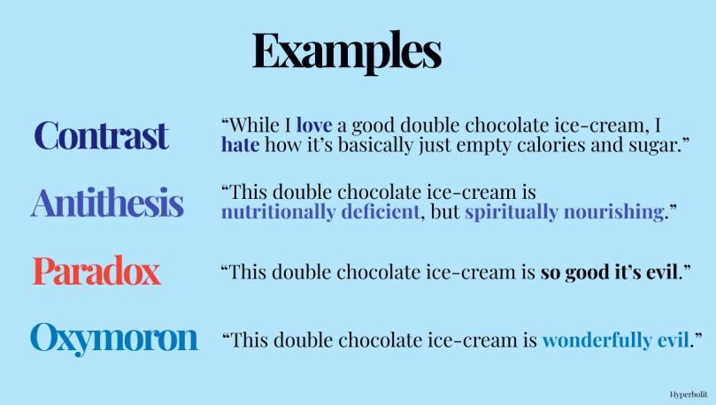 contrast antithesis paradox oxymoron examples