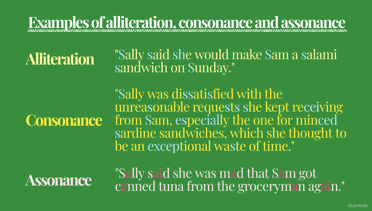 examples of alliteration, consonance and assonance