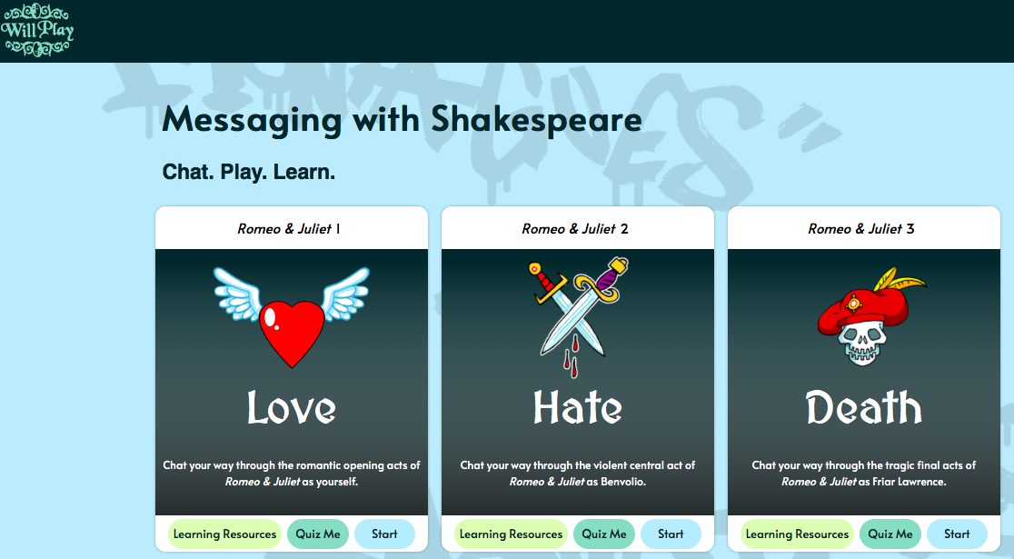 messaging with Shakespeare will play Oxford tool
