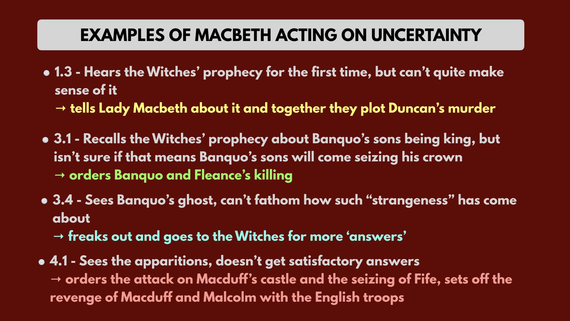 Macbeth uncertainty Shakespeare quotes analysis summary