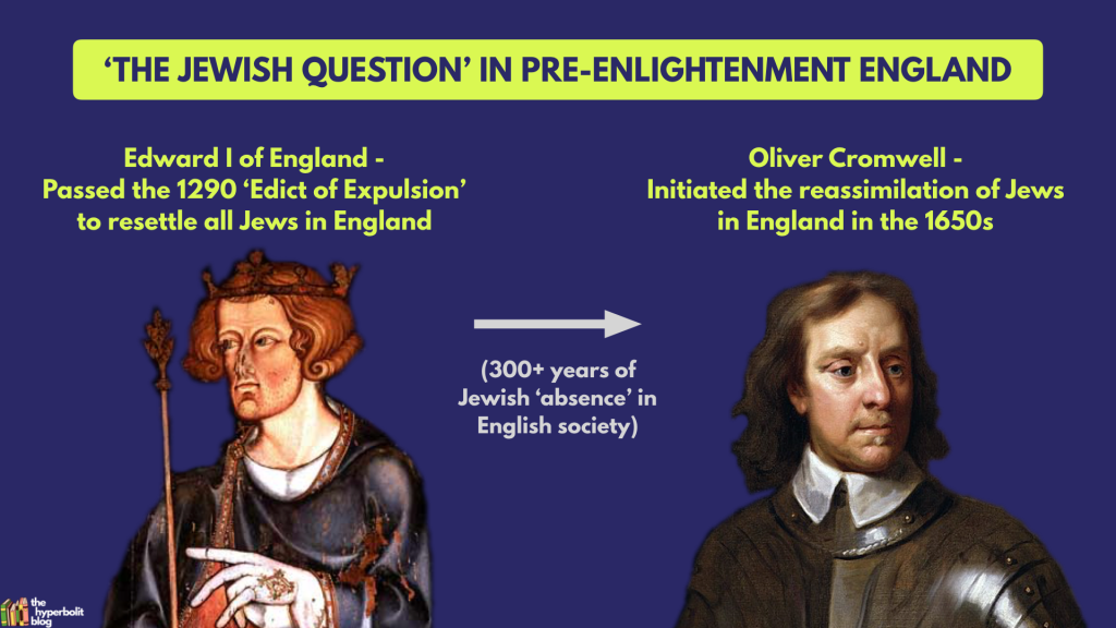 Edward I England Oliver Cromwell jewish question merchant of venice context