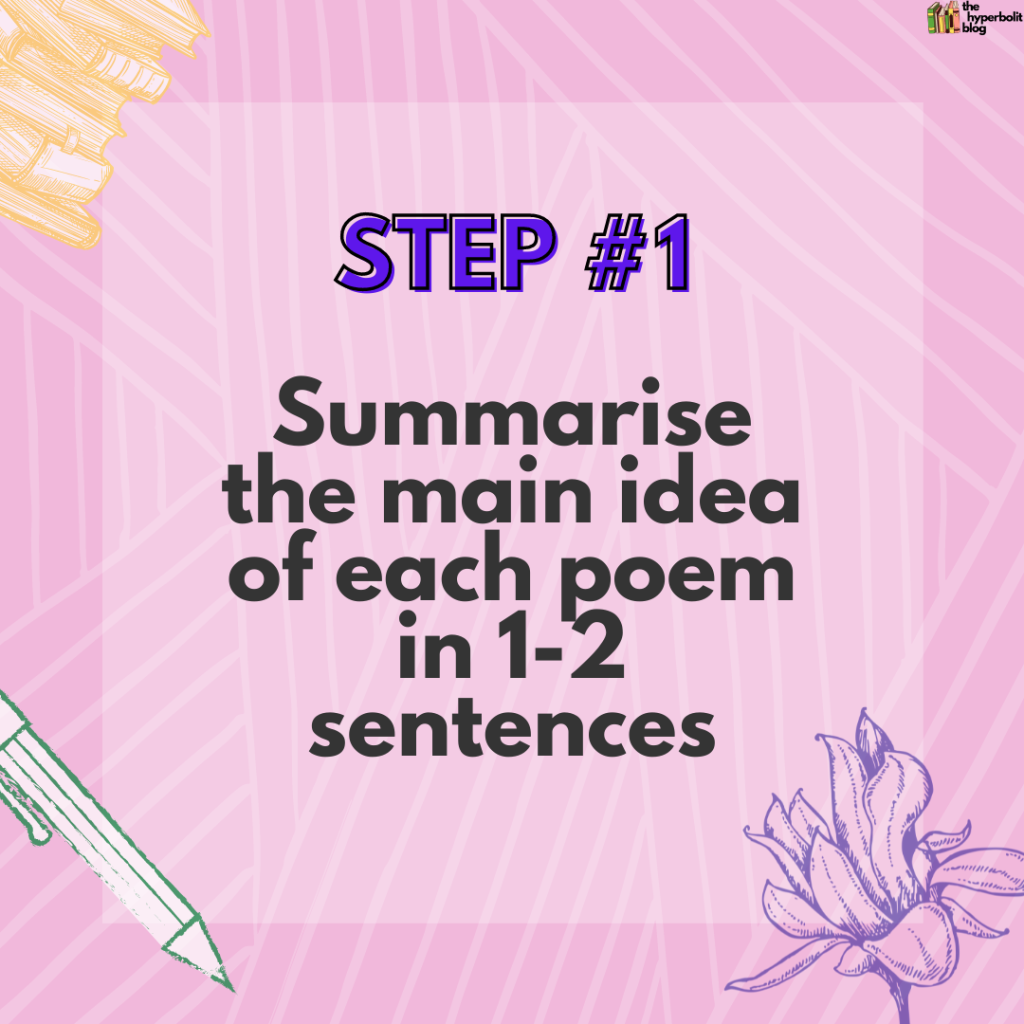 how to compare poems summarise the main idea of each poem in one to two sentences